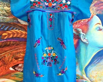 Child Mexican Dress, Girl Mexican dress, Blue Mexican dress, size 6