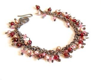 Pearl and Crystal Bracelet, Bohemian Garnet Bracelet, Handmade Copper Jewellery, Pink Bracelet, Romantic Jewellery, Sparkle Bracelet