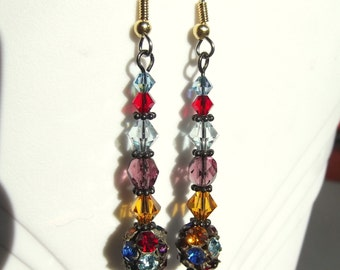 Multi Color Crystal Glass and Vintage Bead Earrings