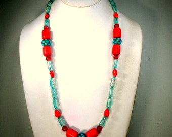 Aqua and Red Glass Bead Necklace, Single Strand, OOAK by Rachelle Starr 2017
