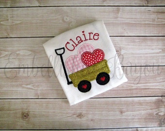Valentine's Wagon with Hearts Personalized with Name Appliqued T-shirt or Bodysuit for Girls or Boys