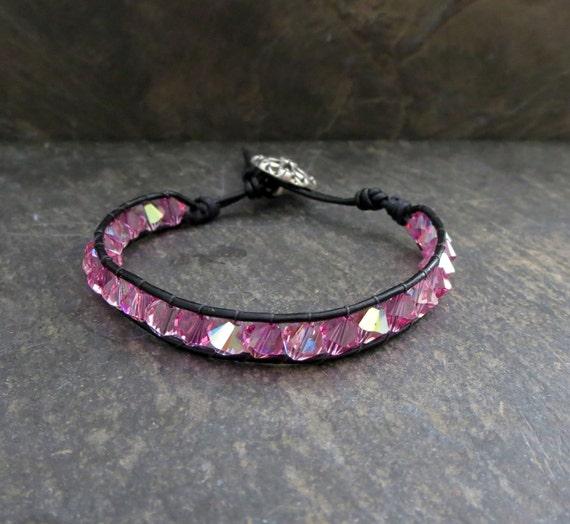 Pink Wrap Bracelet Pink Crystal Bracelet  Leather Wrap Bracelet Swarovski Crystal  Bracelet  Pink Bead Bracelet  Women's Bracelet