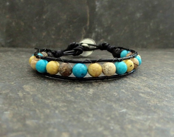 Boho Beaded Stone Bracelet Turquoise Brown Yellow Diffuser Wrap Stone Leather Cord Unisex Wrap Jewelry  Hippie Earth Boho Give Back Style