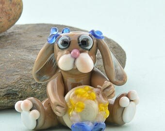 Little Brown Hare with her Easter Bonnet  Lampwork Glass Bead, Glass Sculpture Collectible, Focal Bead, Izzybeads SRA
