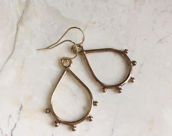 Five Point Teardrop Dangles. Open Teardrops. Perfect Dangle Earrings. Rose Gold. Gold Fill Hooks. Modern Boho Dangles. Everyday Wear.