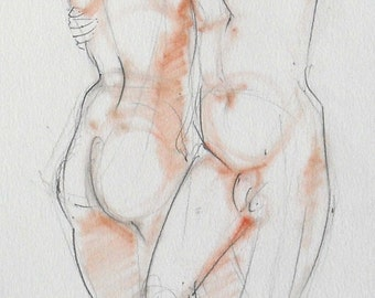 Nude pencil drawing with terracotta pastel. Life sketch. Two figures, male & female. Dancing nudes, couple.  Art by Nancy Farmer. 2011-13