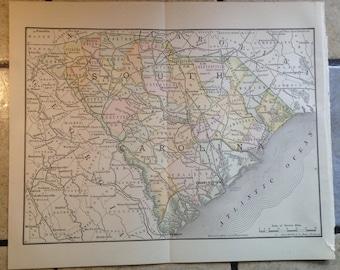 1890 Political Map of South Carolina Antique Illustration