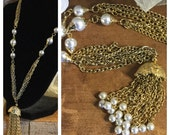 Bright White Faux Pearl and Goldtone Tassel Necklace Fancy Bead Cap