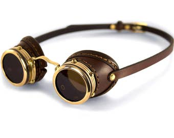 STEAMPUNK GOGGLES brown leather polished brass ENGINEER v.1