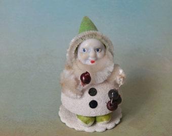 Vintage Cardboard & Chenille Christmas Elf Decoration Japan