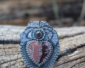 Picture Jasper Sacred Heart Ring