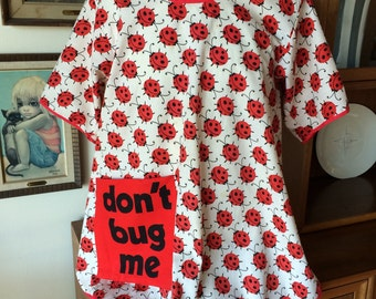 Wonderful Vintage Lady Bug Smock Apron with Big Pocket Modern 60's Retro 70's Cotton Fabric from Now Designs San Francisco