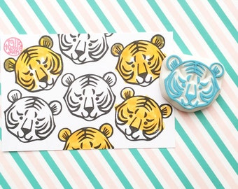 tiger rubber stamp, woodland animal hand carved stamp, asian animal stamp, chinese zodiac sign stamp, year of tiger, birthday holiday crafts