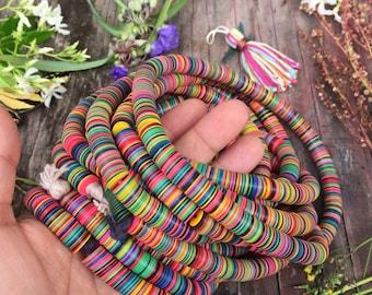 "10mm Multi Rainbow: Vintage African Vinyl Record Beads, Festival Jewelry, 28"" strand / Festival Jewelry, Heishi, Bohemian, Tribal Jewelry"