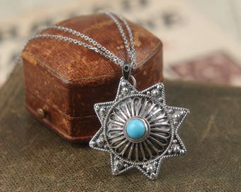 vtg ethnic silver 8 point star pendant chain necklace turquoise blue stone hebrew sterling Octogram israel brooch pin jewish judaism