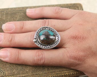 vintage navajo large turquoise sterling ring antique native american silver size 7 1/2