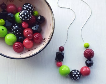 parisienne - necklace - vintage lucite remixed - polka dot necklace - dark pink chartreuse - chunky necklace