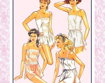 Vintage 1988-FRENCH STYLE LINGERE-Sewing Pattern-Teddy-Cami-Knickers-Camisole-Tap Pants-Lace-Ribbon Trim-Uncut-Size 18-20-Rare