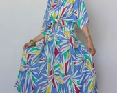 st tropez -- amazing vibrant abstract print top and skirt set size L/XL