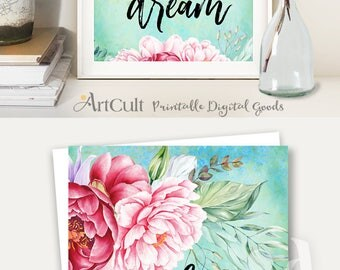 Printable artwork DARE TO DREAM inspiration quote, watercolor art, digital print instant download for home and office decoration by ArtCult