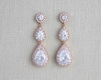Rose Gold earrings, Bridal jewelry, Crystal Bridal earrings, Wedding jewelry, Swarovski earrings, Long earrings Teardrop earrings, Pink gold