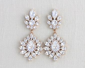 Rose Gold earrings, Bridal jewelry, Swarovski crystal earrings, Chandelier earrings, Crystal Wedding earrings, Statement earrings, Vintage