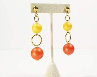 Vintage Dangle Earrings, 80s Long Summer Dangle Earrings, Hoop and Bead Orange Yellow Gold Tone Pierced Post Earrings, Large Round Earrings