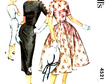 Vintage 1950s Party Cocktail Dress McCalls 4521 Sewing Pattern with Boat Neckline, Kimono Sleeves Size 12 Bust 34 Cut and Complete