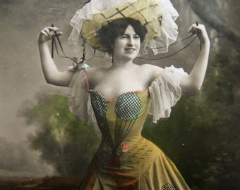 Antique theatre photo postcard, Antique French actress photo postcard, Antique Dance Hall girl photo postcard, Antique Folies Bergère RPPC
