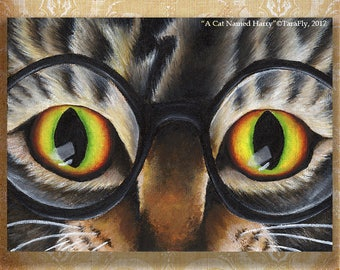 Tabby Cat Wearing Glasses 5x7 Fantasy Fine Art Print