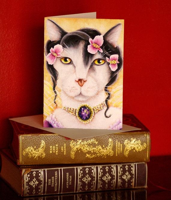 Fairy Cat Card, Fantasy Begonia Flower Cat Art, 5x7 Blank Greeting Card