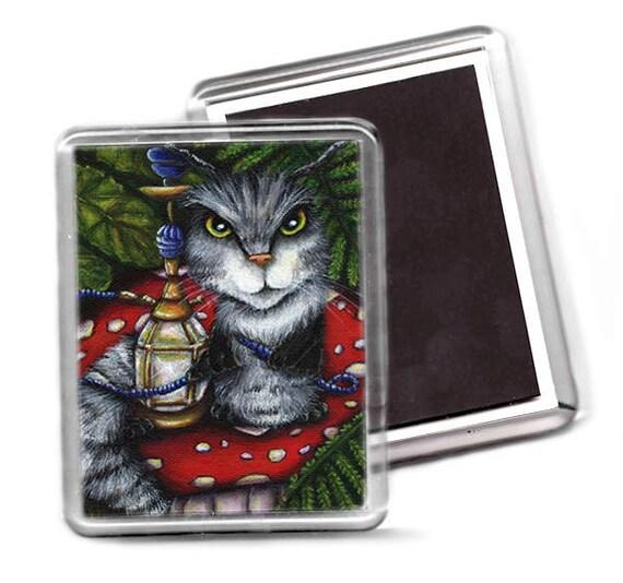 Caterpillar Magnet, Alice in Wonderland, Fantasy Cat Art Fridge Magnet