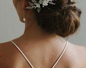 ALESSIA | silver floral bridal comb, silver wedding comb, floral bridal comb