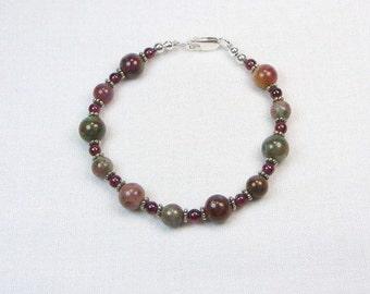 Kashgar Garnet Bracelet - Garnet Bracelet -  Beaded Jewelry - Genuine Gemstone - Gift For Her - Sterling Silver - Natural Stones