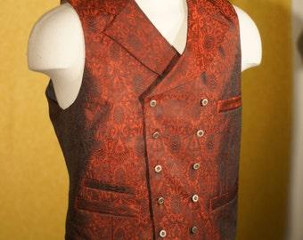 Custom Silk Brocade Vests---In Crimson