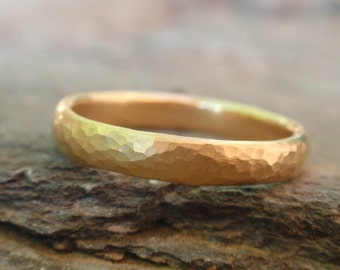 sterling silver 24k gold plated ring - 3mm - hammered - handmade ring - made to order