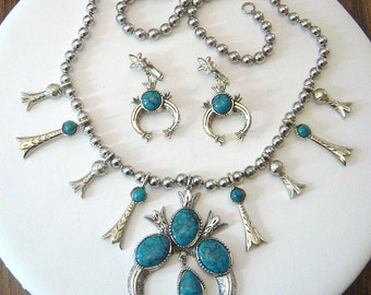 Vintage signed ART squash blossom Necklace & Earrings set faux turquoise