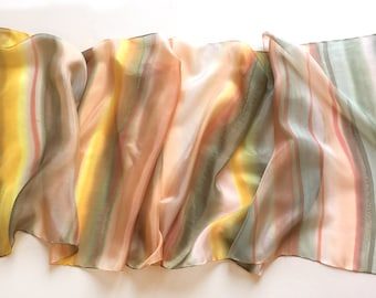 Silk Scarf- Apricot Stripes, Hand painted silk scarf, Pastel Peach gray scarf striped, Spring fashion, Gift for her Birthday gift mom KA17