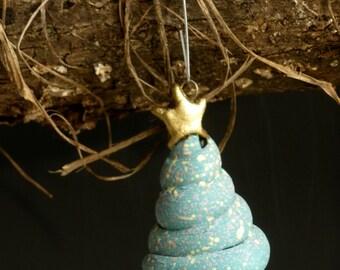 HANDMADE CLAY ORNAMENT, Clay Tree Ornament, Christmas Tree Ornament, Tree Ornament, Pottery Tree, Blue Green Tree Ornament, Christmas Tree