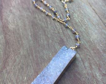 Labradorite Druzy Bar Necklace, Labradorite Y Necklace, Labradorite Rosary Necklace, Labradorite Agate Necklace, Druzy Rosary Necklace