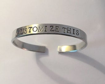 Custom Cuff bracelet Personalized Bracelet Hand Stamped Jewelry Gift For Her - Birthday Christmas Graduation Anniversary Mothers Day Gift