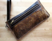 Embossed Leather clutch, iphone case, pouch, floral leather clutch, Brown leather clutch bag, clutch purse