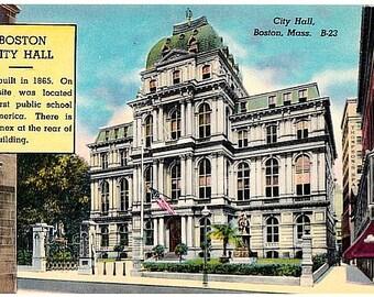 Vintage Boston Postcard - Old City Hall (Unused)