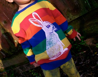 All The Colors and a Bunny sweater - upcycled, eco friendly screenprint, size 2T to 5T