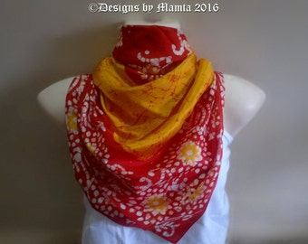 Yellow Red Pure Silk Batik Scarf, Lightweight Silk Scarf, Sari Silk Scarf, Bohemian Scarf, Square Silk Scarf,  Indian Scarf, Boho Silk Scarf