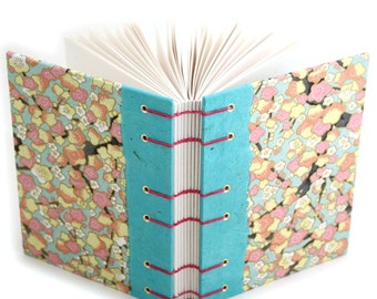 Blank Journal with Plum Blossom paper - handmade by Ruth Bleakley