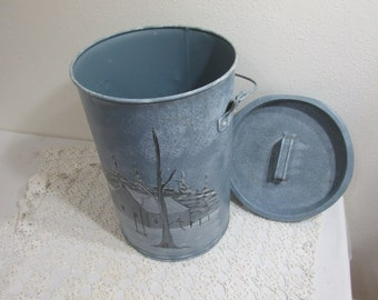 Upcycled Antique Milk Can Hand Painted Winter Scene