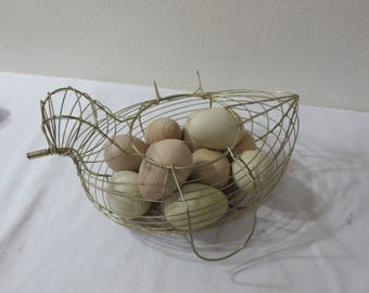 Wire Basket Chicken Egg Gold Tone Container