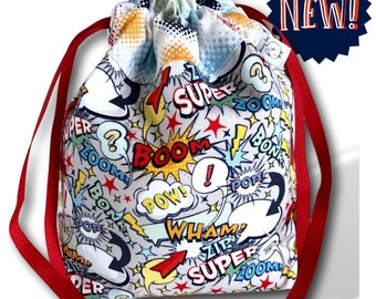 Comic Book - One Skein Project Bag for Knitting, Crochet, or Embroidery