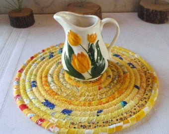 Coiled Fabric Hot Pad, Trivet, Candle Mat - Yellow Bohemian - Handmade by Me